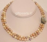 Two-strand necklace of medium-sized multicoloured pearls - great value for your money!